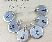 """Sterling Silver Initial Charm - 3/8"""" Charm Hand Stamped With Letter or Number, Alphabet Charm, Single Sterling Silver Charm"""