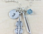 Personalized Necklace, Sterling Silver Violin Necklace Personalized With Initial And Birthstone, Violin Player Gift, Violinist Jewelry