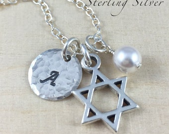 Personalized Necklace - Star of David Charm Necklace - Initial and Birthstone - Hand Stamped Sterling Silver Jewelry