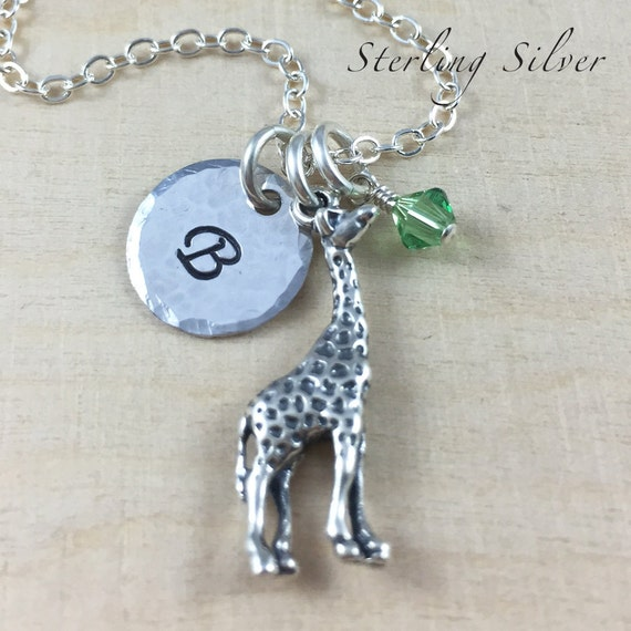Sterling Silver Giraffe Charm Necklace, Birthstone Jewelry, Hand Stamped Initial Necklace, Personalized Giraffe Charm Necklace, Giraffe Gift