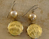 Fleeced - Vintage Brooks Brothers Golden Fleece Buttons Pearls Recycled Repurposed Jewelry Earrings