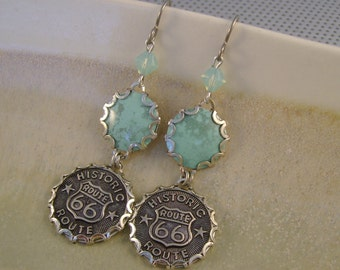 Get Your Kicks - Route 66 Buttons Bezels Turquoise Tin Swarovski Crystals Niobium Wires Recycled Repurposed Upcycled Jewelry Earrings