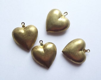 On Sale Vintage puffed heart pendant charms