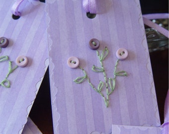 Gift tags hang tags lavender striped hand embroidered buttons