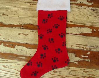 Christmas stocking pet dog cat paw red & white faux fur