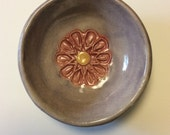 Lavender 4 by 4 inch trinket bowl with pink flower design