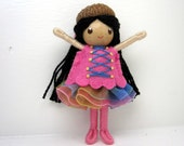 Acorn Bendy Doll- Waldorf Felt Doll- Woodland  Girl- Black Doll- Small Miniature Bendy Doll- Felt Bendable Doll- Acorn Hat