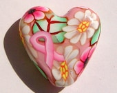 Pink Ribbon Breast Cancer Awareness Heart Shaped Polymer Clay Focal Bead