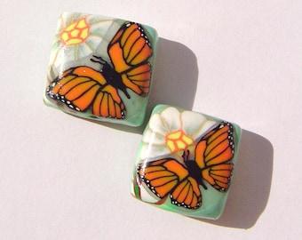 Monarch Butterfly Daisy Handmade Artisan Polymer Clay Bead Pair