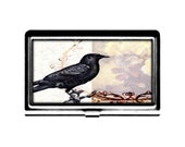 Business Card Case Victorian Crow Credit Card Holder stainless steel metal card case metal wallet shabby collage black bird