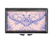 Jacobean pink blue Pill Case with Mirror pill box 3 day sections  shabby cottage chic shabby Wife Gift