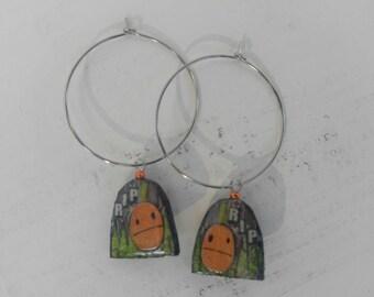 halloween...earrings...r.i.p. gravestone hoops