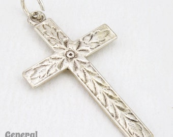 20mm x 40mm Sterling Silver Patterned Cross  #BSD042