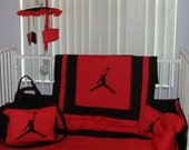 New Michael Jordan baby crib bedding set, Diaper Bag and Mobile Accessory YOUR CHOICE of COLOR