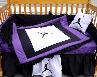 NEW 7 piece baby crib bedding set in purple/black/white Michael Jordan JUMPMAN fabrics