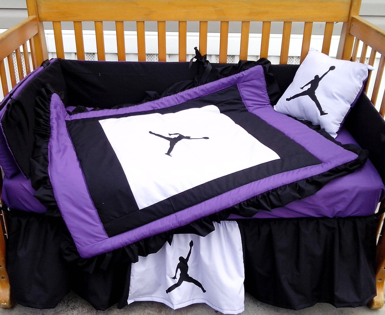 NEW 7 Piece Baby Crib Bedding Set In Purple/black/white
