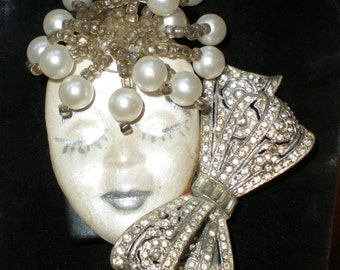 OOAK Art Deco Lady Face Brooch Pin, antiqued Silver Hand Painted Lady Face w 1920's Rhinestone Shoe Clip, Pearls and Beads Artist Original