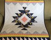 Urban Aztec handmade baby quilt