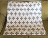 Modern plus sign baby blanket in Grey and White with Minky