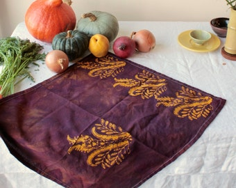 thistles tea towel earthy purple and gold