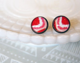 ikat style framed post earrings- red pink and white - aged brass
