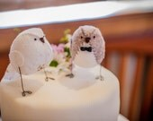 Wedding cake topper, love birds in natural colours with vintage rose fabric