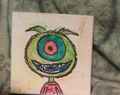 Halloween painting creepy but cute  one eyed monster  tiny canvas