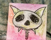 Halloween painting creepy but cute Colorful cat skull tiny canvas