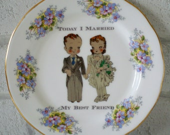 1920's Wedding Day Marriage To My Best Friend Vintage Ornamental Wall or Table Display Heirloom Forget-Me-Not Plate (22)