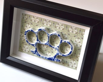 Framed China Knuckles - Blue Floral Porcelain