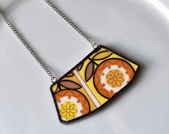 Wide Rim Broken China Jewelry Necklace  - Orange and Yellow