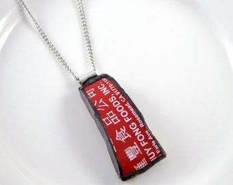 Broken China Jewelry Pendant - Red Sriracha