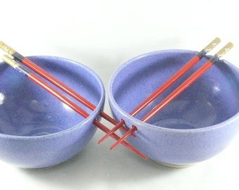 Pho bowl with chopsticks -  Noodle Bowl / Rice bowl chopstick bowl in purple pottery and ceramics,  asian food dish / oriental serving dish