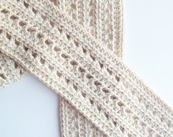 Beige Crochet Scarf, WarmScarf, Winter Scarf, Adult Scarf, Handmade Scarf, Hand Crocheted Scarf, Long Scarf