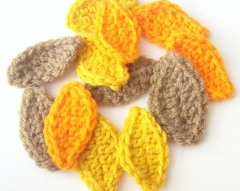Fall Leaf Crochet Appliques,  Orange Leaves, Yellow Leaves, Brown Leaves, Cochet Leaf Embellishment, Leaf Motif