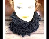 Crochet Scarf, Crochet Infinity Scarf, Crochet Cowl Scarf, Black Scarf, LAUREN, Winter Scarf