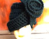 Crochet Hat Womens Hat, Womens Crochet Hat, Women's Wool Hat, Cloche Hat, Crochet Flower Black Hat, OMBRETTA Cloche Hat with Flower