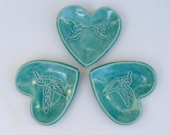 Set of Three Ceramic Heart Plates, Hand Built, Hummingbird