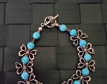 Silver Pewter and Turquoise Butterfly Bracelet