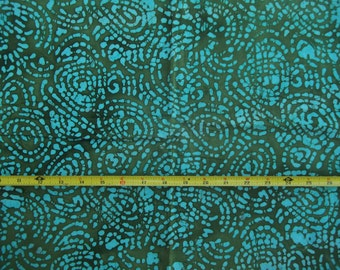 Green and Turquoise Tracks BATIK 100% Cotton Quilting Skirt 44-45 Wide 2 yd. 35 inches