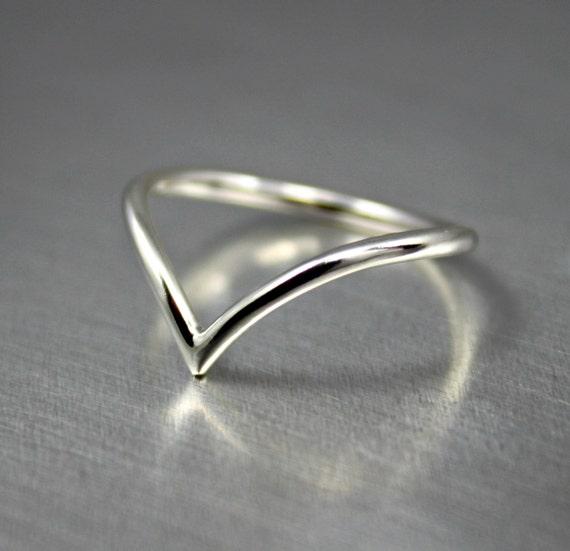 sterling silver chevron ring silver chevron arrow ring