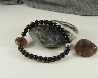 Black Tourmaline and Chiastolite Bracelet