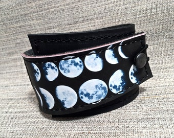 Leather Cuff Unisex Wrap, Moons Digital Photo Print on 100% Genuine Leather