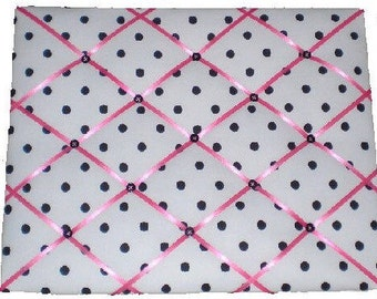 ON SALE HOT Pink Black and White Polka Dot Message Board Addison Kids, Any Color Ribbons Buttons Available