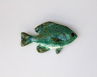 Ceramic fish art sunfish decorative wall hanging