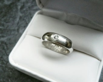Sterling Silver Half Round Fingerprint Wedding Band with Sapphire