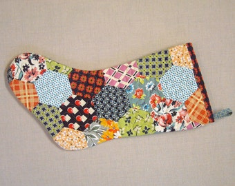 Quilted Christmas Stocking - Hexagon Feedsack