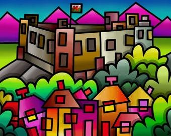 Harlech Castle - colourful fine art print by Amanda Hone