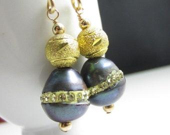 Gold Finish Rhinestone Pearls on Gold-Fill Earrings