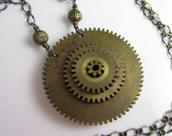 Inner Workings Necklace - Vintage Brass Gears